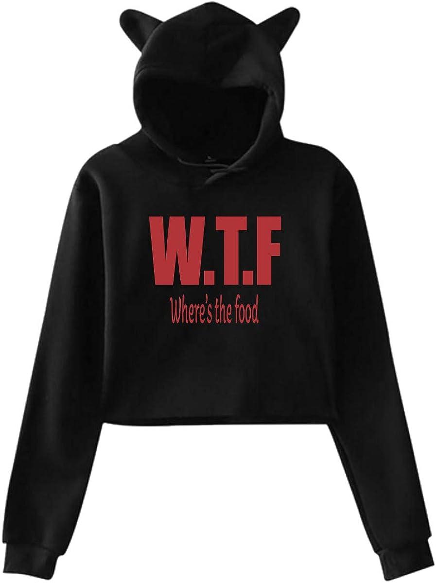 WTF - Where's The Food Womans Cat Ear Hoodie Hoodie Sweatshirt Crop Top