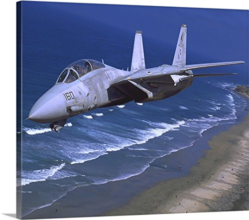 Phil Wallick Premium Thick-Wrap Canvas Wall Art Print entitled F-14 Tomcat flying over San Diego, California 24