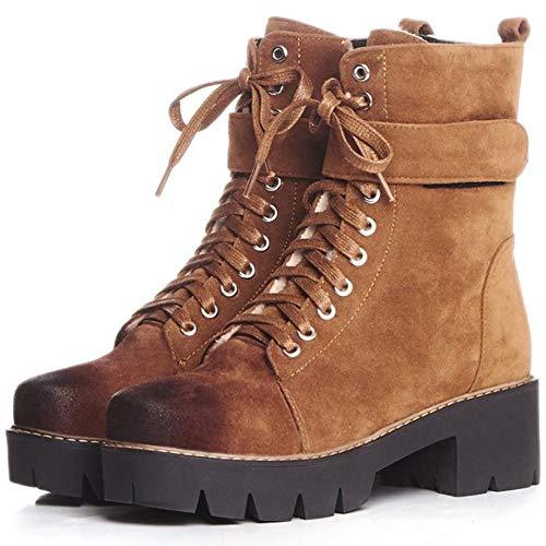 Women m Classic Zipper Boots Coolcept Chunky Heel Brown RAUdnqg