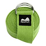 REEHUT Yoga Strap (6ft, 8ft, 10ft) with Ebook – Durable Cotton Exercise Straps w/Adjustable D-Ring Buckle for Stretching, General Fitness, Flexibility and Physical Therapy