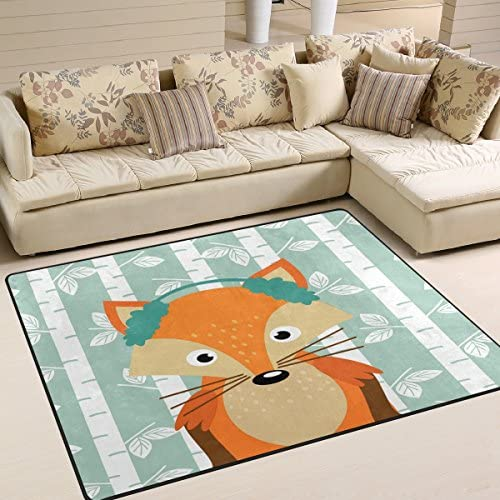 ALAZA Cartoon Birch Tree Cute Fox Forest Area Rug Rug