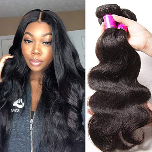 Ali Julia Hair 14 16 18 Inch Brazilian 10A Virgin Body Wave Hair Weave 3 Bundles100% Unprocessed Human Hair Weft Extensions Natural Color - Relaxer Conditioning Pink