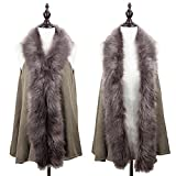 StylesILove Faux Fur Collar Winter Womens Sweater Knit Vest One Size - Taupe