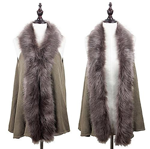 Fur Sweater Vest (StylesILove Faux Fur Collar Winter Womens Sweater Knit Vest (Taupe))
