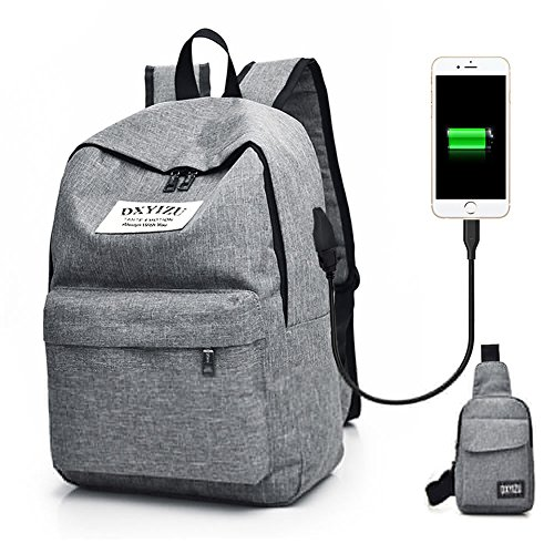 Labtop Backpack with Sling Bag,School Bag Backpack for College Student,Daypack Business Laptop Backpack for Men Women Teen Boys Girls for Work Travel,with USB Charging Port Earphone Hole,Grey,Tekchic ()