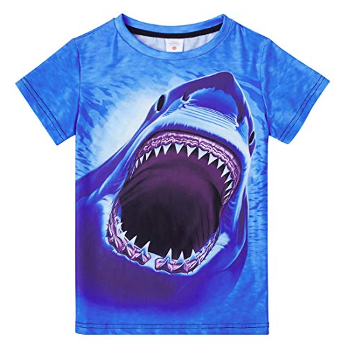 Funnycokid Boys Graphic Tshirts Size 6 Kids Child Cool 3D Shark T Shirt Tees Short Sleeve Blue