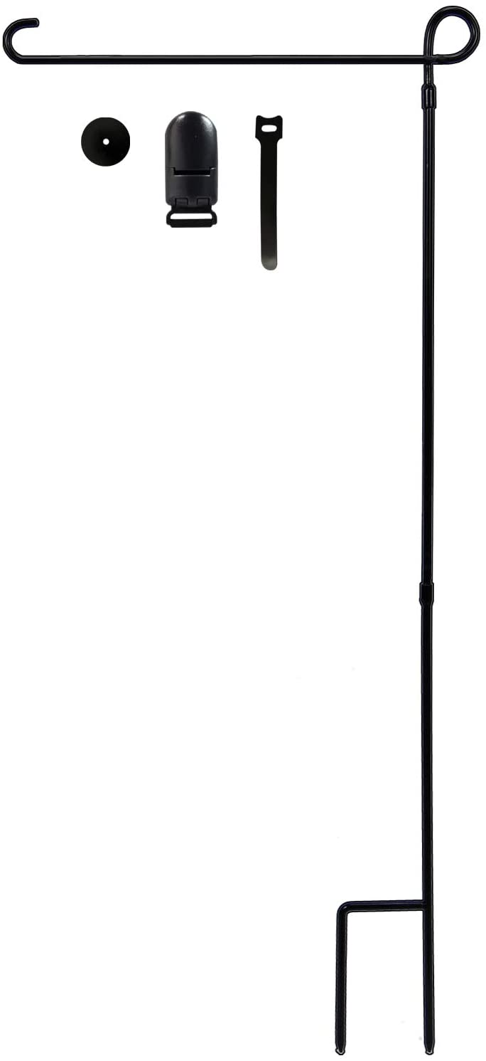hogardeck Garden Flag Holder Stand, Thickened Pole Sturdy and Straight Premium Yard Flag Holder Weather-Proof Metal Flagpole with Stopper and Clip Fit for American Flag, Fall Garden Flag
