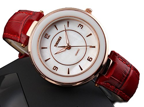 womens-red-leather-waterproof-quartz-wrist-watches