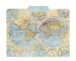 punch studio world atlas map decorative file folders set of 10