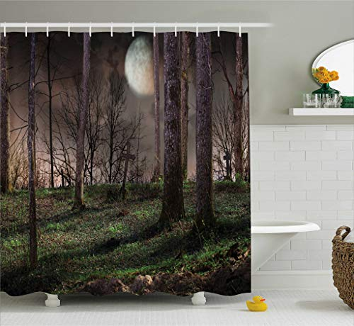 Ambesonne Gothic Decor Collection, Dark Night in the Forest with Full Moon Horror Theme Grunge Style Halloween Photo, Polyester Fabric Bathroom Shower Curtain Set with Hooks, Brown Green -