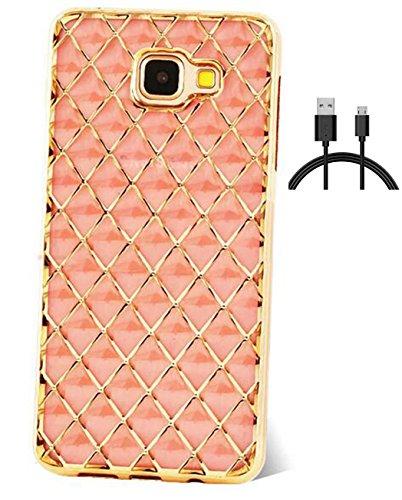 Samsung Galaxy A3(2016) Hülle Silikon Glitzer Galaxy A3(2016)/A3(2016) Duos/A310F Hülle Transparent Durchsichtig,[GoldLine]Ultra Slim TPU Strass Diamant Crystal Flüssig,Schutzhülle Muster Handy Hülle+1 x USB Ladekabel DatenkabelDatenkabel