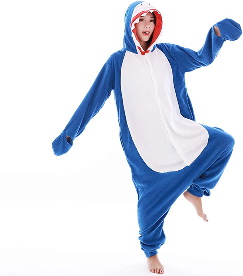 Adult Shark Costume Pajamas Shark Cosplay Animal Onesie One Piece Homewear Sleepwear for Women Men