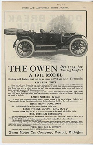 1911 Owen Automobile Detroit MI Auto Ad Bridgeport Brass Co (Bridgeport Brass)