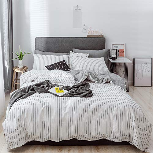Utridevn 3 Pieces Cotton Duvet Cover Set,Striped Pattern Print,100% Natural Cotton Bedding,Reversible Design with Zipper Closure,Soft and Comfy(Queen, White Pinstripe)