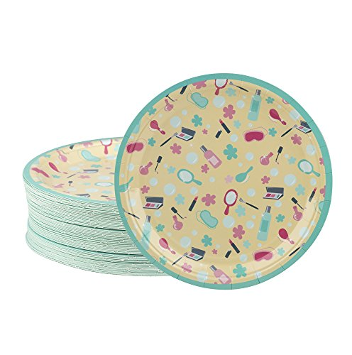 - Disposable Plates - 80-Count Paper Plates, Spa Party Supplies for Appetizer, Lunch, Dinner, and Dessert, Kids Birthdays, 9 x 9 inches