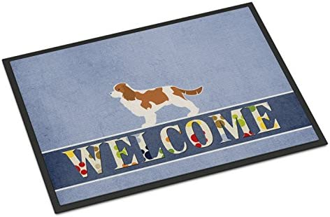 Caroline s Treasures BB5553MAT Cavalier King Charles Spaniel Welcome Indoor or Outdoor Mat 18×27, 18H X 27W, Multicolor