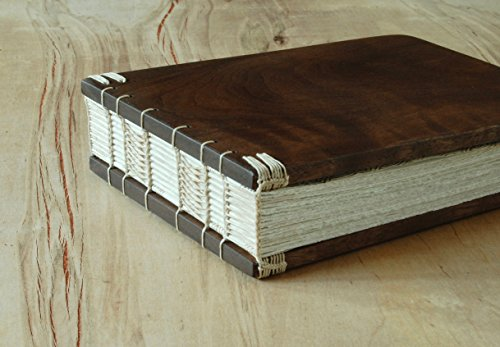 Handmade Wedding Guest Book or Vacation Home Guestbook - Black Walnut Wood by Three Trees Bindery