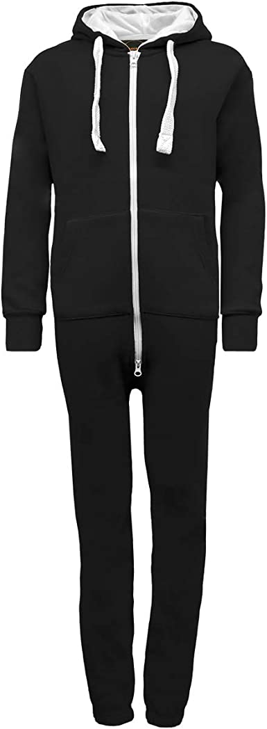 Girls Boys Dance All in One Plain Hood Jumpsuit Sleep Suit nightwear 7-13 Black