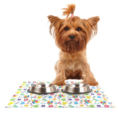 KESS InHouse Laura Escalante Fun Creatures  Feeding Mat for Pet Bowl, 18 by 13-Inch
