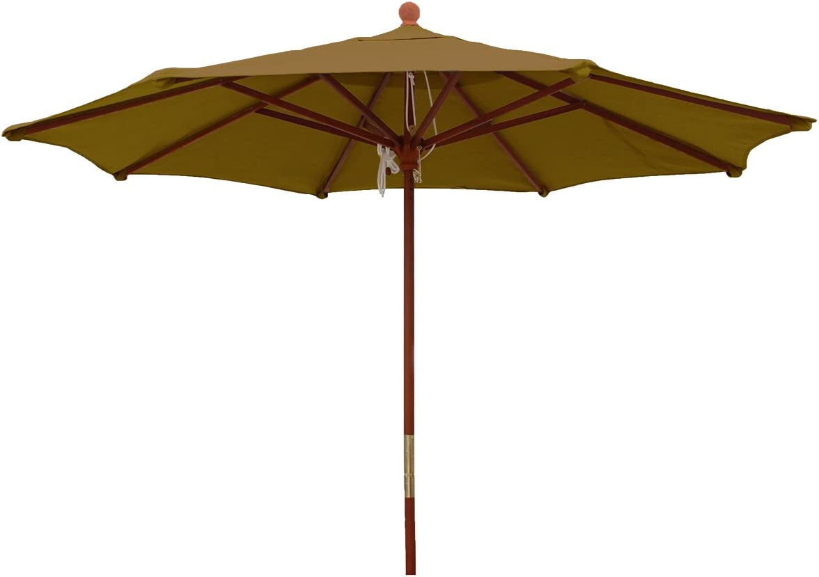 Comfort Classics Inc. Sunbrella Outdoor 9Ft. Wood Market Umbrella in Brass Made in USA
