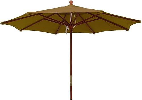 Comfort Classics Inc. Sunbrella Outdoor 9Ft. Wood Market Umbrella