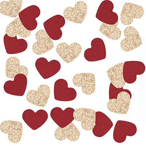 Fonder Mols Burgundy and Rose Gold Heart Shaped Party Confetti for Wedding Bridal Shower Bachelorette Engagement Rose Gold Party Decorations 200 Pcs/Pack