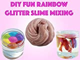 Diy Fun Rainbow Glitter Slime Mixing