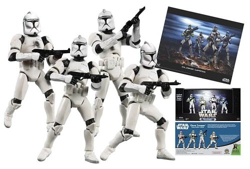 Star Wars BATTLED DAMAGED White Clone trooper set of 4 clones