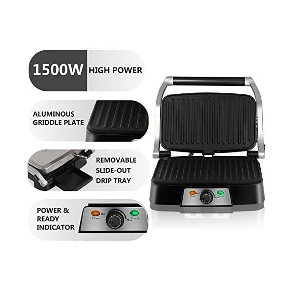 Aigostar Hitte 30HFA - Panini Maker/Griglia, Pressa a sandwich, Griglia elettrica, 1500 Watt, Fredda al tocco… 6
