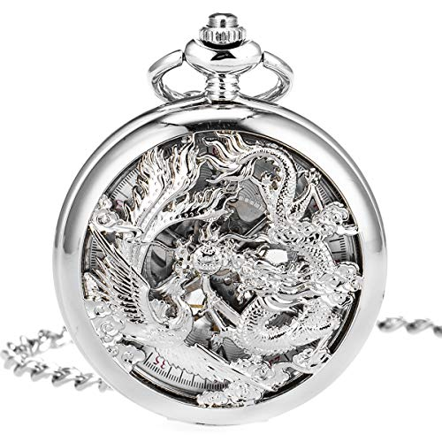 (ManChDa Antique Mechanical Pocket Watch Lucky Dragon & Phoenix Silver Skeleton Dial with Chain + Gift Box (Silver) )