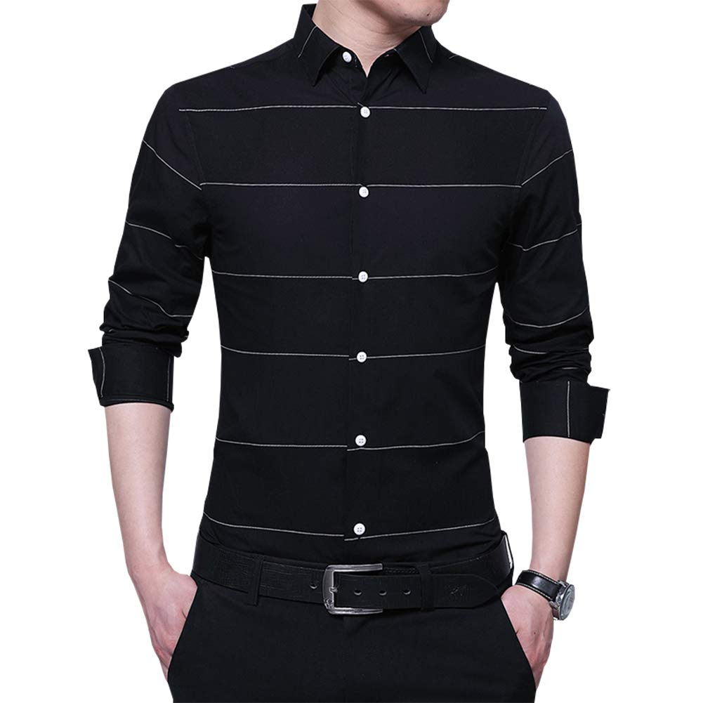Womleys Mens Long Sleeve Slim Fit Casual Striped Button Down Dress