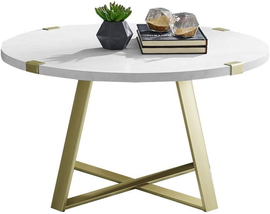 Round Coffee Table Sofa End Table Living Room Side Table Nordic Style Furniture Laptop Desk MDF Wood Top and Metal Frame White (Size : 45.5×56cm)
