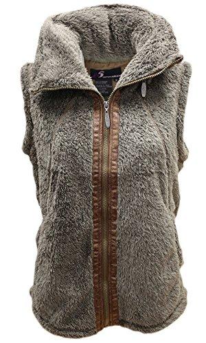 i5 Women's Sherpa Fleece Zip up Hidden Hood Vest (XX-Large, Mushroom) ()