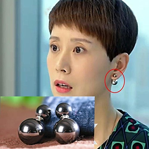 Genuine big small parting with the money Haiqing size gray pearl earrings earrings Hey kids Xiaoran same paragraph