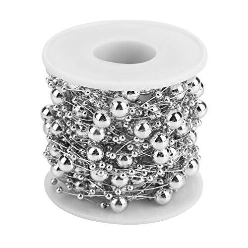 ZJchao Cadena de Cuentas de Perlas, 10M Rollo de Oro / Plata Perlas de Colores de Cadena Cadena de Perlas Artificiales...