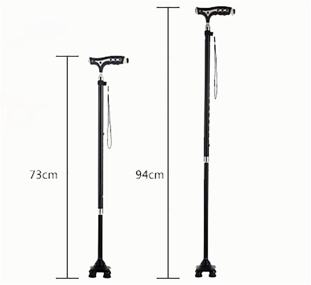 G&M Extendable Walking Stick Lightweight Height Adjustable Walking Stick 68-89 cm Black , 2 by crutch (Image #2)