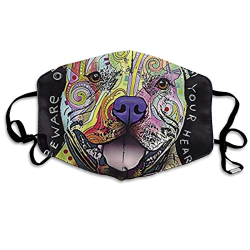 NA Beware of Pit Bulls They Will Steal Your Heart Personality Lovely Unisex Dust Mask, Suitable for Young Men and Women, Ski Bike Camping Windproof Motorcycle Face Mask