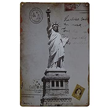 Placas Decorativas Vintage metalicas York. Carteles New Estatua Libertad