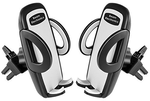 Beam Electronics (2 PACK) Universal Smartphone Car Air Vent Mount Holder Cradle Compatible with iPhone X 8 8 Plus 7 7 Plus SE 6s 6 Plus 6 5s 5 4s 4 Samsung Galaxy S6 S5 S4 LG Nexus Sony Nokia and More (Electronic Holder)