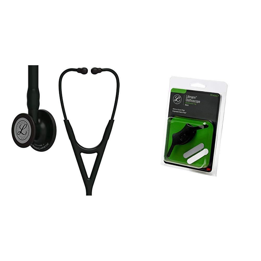 3M Littmann Cardiology IV Diagnostic Stethoscope, Black-Finish Chestpiece, Black Tube, Stem and Headset, 27 inch, 6163 + 40007 Stethoscope Identification Tag, Black