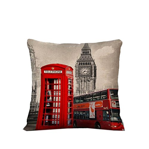 London Bus Telephone Throw Pillow Case Vintage Cushion...