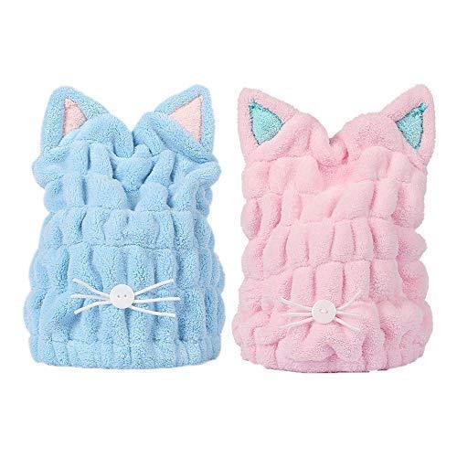 StyleZ 2Pcs Ultra Absorbent Hair Quick Drying Towel Microfiber Hair Dry Wrap Turban Cute Kitty Ears Cap Bath Tool Hat for Women Girl (BabyPink & Blue)]()