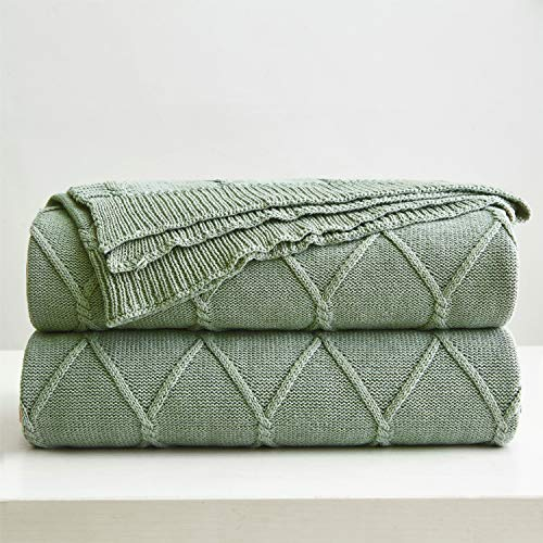 100% Cotton Green Cable Knit Throw Blanket for Couch, Sofa with Bonus Laundering Bag - Large 50 x 63 Thick, Extra Cozy, Machine Washable, Comfortable Home Decor (Blankets Green Throw)