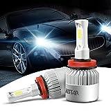 H11 LED Headlight Bulb 2PCS H8/H9/H11 36W 6500K 8000Lumens Cool White COB Chip LED CREE Car Fog Driving Light High Low Beam All-in- one LED Conversion Kit Waterproof