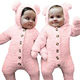NUWFOR Newborn Baby Girls Boys Ears Hoodie Toddler Jumpsuit Coat Clothes Outfits Romper(Pink,9-12 Months)