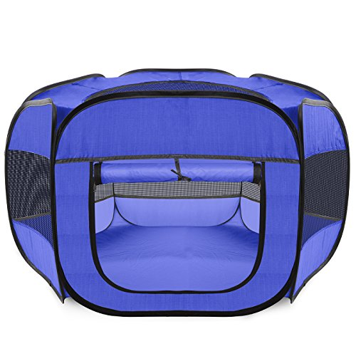 Pals Pen Small (Paws & Pals Playpen for Pets Puppy, Dog, Cat Guinea Pig, Rabbit - Portable Pop Up Exercise Kennel Tent Indoor/Outdoor Pen - Foldable Travel Ready w/Carry Bag - Blue)