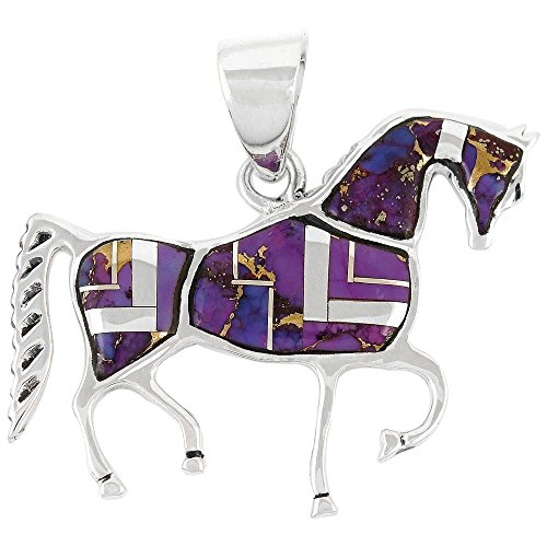 Horse Pendant 925 Sterling Silver Genuine Turquoise & Gemstones (Purple Turquoise) (Genuine Gemstone Jewelry)