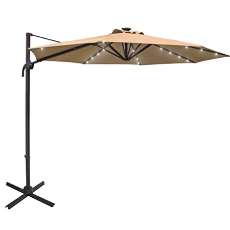 Sundale Outdoor 10 ft Solar Powered 28 LED Lighted Aluminum Offset Hanging Patio Umbrella with Crank and Cross Bar Set, Cantilever Umbrella for Deck, Garden, Backyard, Polyester Canopy Tan