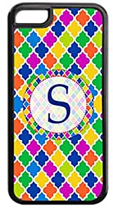 S-Monogram Bold Damask Pattern Hard Plastic Case in black - for the Apple Iphone 5C ONLY