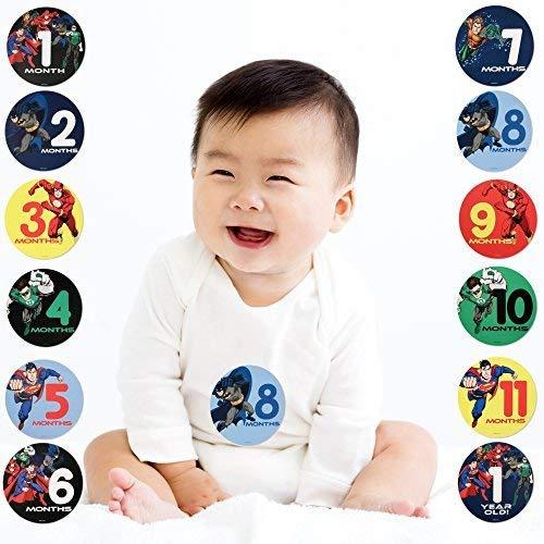 DC Comics Justice League Milestone Photo Prop Stickers Gift Set Baby Boy 0-12M
